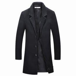 Abrigo informal de negocios online-2018 Chaquetas medianas Largas para hombre casual espesar abrigo de lana abrigos de negocios invierno Hombre color sólido Slim fit abrigo