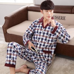 Wholesale Cardigan Pajamas - Spring and autumn A04 men sweat long sleeves cotton cardigan pajamas
