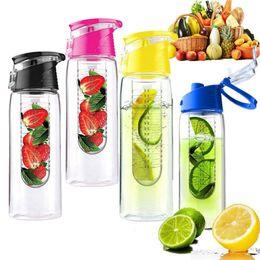 Wholesale Lemon Water - Plastic Water bottles 700ml multi function sports bottles As body creative lemon bottles with handle multi color BPA free