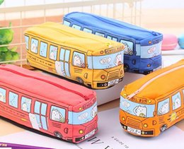 lápis de carro Desconto Caixa de lápis bonito popular do ônibus escolar, saco do lápis do carro da lona da grande capacidade