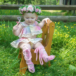 Wholesale Rainbow Tank Top - 2018 INS Baby girl Toddler Summer 2pieces outfits Rainbow Unicorn Lace Tank Tops Shirt Vest + Shorts Bloomer pants Skirt Diaper Covers Cute