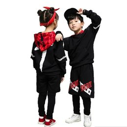 Wholesale Girls Hip Hop Dancewear - New Children's Sports Suit Boy Hooded Tracksuit Kids Hip Hop Dancewear Girls Spring Clothes Cool Fashion Camouflage set