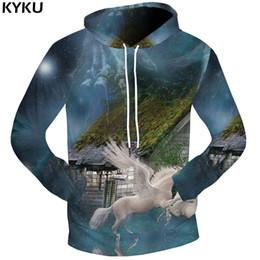 Wholesale Dream Clothing - KYKU Brand Unicorn Sweatshirts Dream Sweat shirt House Clothing Hand 3d hoodies 3D Sweatshirts Male Hoodie Men Hood 2018 Casual