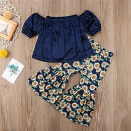 Wholesale Girls Legging Top Sets - 2018 Girls Clothing Set Toddler Baby Girl Vintage Velvet Blue Off-shoulder Tops Sunflower Wide Leg Trousers Bell-bottoms Clothes