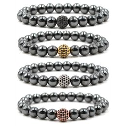 Wholesale pave beads 8mm - New 8mm Hematite Bracelet Beaded Jewelry Men's Yoga Buddha Micro Pave Zircon CZ Beads Chakra Bracelets for Women Free Shipping G114S