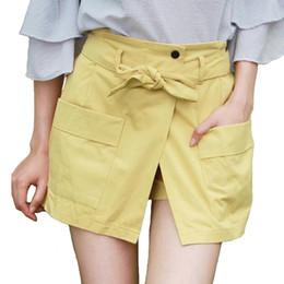 7e6a725b186 2018 Summer High Waist Skort Lace Up Belt Korean Fashion Wide Leg Shorts  Double Pockets Harajuku Streetwear Shorts