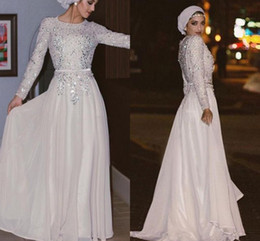 Wholesale Black Gold Abaya - Sparkly Long Sleeves Muslim Evening Dresses Sequins Crystal Chiffon Floor Length Silver White Prom Dresses Arabic Abaya Party Dresses