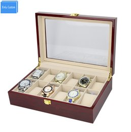Wholesale elegant collections - Luxury High Grade Elegant 12 Slots Mens& Womens Wood Glossy Lacquer Watch Box Jewelry Collection Display Drop Shipping Supply