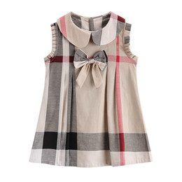 Wholesale doll american girls - girls cotton dress 2018 NEW arrival summer Girls doll collar academy wind sleeveless big bowtie high quality cotton baby kids plaid dress