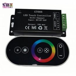 2019 dimmer do painel de toque conduzido 12v DC12V-24V 6Ax3channel 18A RF Sem Fio Toque RGB controlador GT666 Painel de Toque RGB led dimmer controlador para fita led tira de luz dimmer do painel de toque conduzido 12v barato