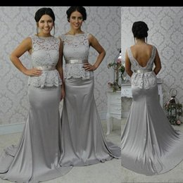 Wholesale Cheap Maternity Dresses For Wedding - Plus Size 2018 Cheap Mermaid Bridesmaid Dresses Maternity Beach Bridesmaids Dresses Long Gray Sliver Lace Backless Wedding Gowns For Junior