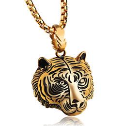 Gold tiger anhänger online-Edelstahl Tiger Anhänger Halsketten Für Männer Punk Style Vintage Modeschmuck Hochwertigen Zubehör OGX1184