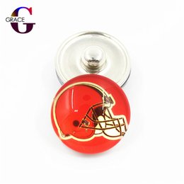 Wholesale brass circle - 20pcs lot Football Team Sports Charms 18mm Replaceable Ginger Glass Snap Buttons Fit Snaps Women Bracelets&Bangles DIY Jewelry Accessory