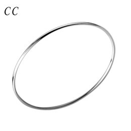 Wholesale thin gold plated bangles wholesale - Wholesale sliver plated single circle thin bangles bracelet for men for women fashion jewelry best gift friend cheap CCNE0487