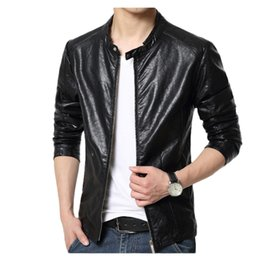Wholesale Leather Jackets For Men 5xl - Mens PU Leather Jacket Solid color Faux Fur Male Coats and jackets Slim Fit Youth Motorcycle Suede Jacket for men size 5XL 6XL