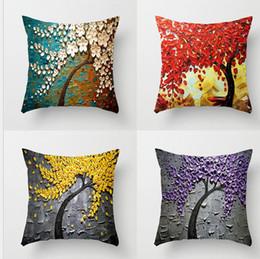 45769745c5a Fashion Flower Plant 3D Pillows Tree Cotton Linen Pillowcase Sofa Couch  Cushion Covers Shop Coffee Home Decor Square Home textile