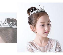 Wholesale Beautiful Crowns - Cute Kids Head Crown Crystal Beaded Beautiful Formal Accessories Head Pieces Cheap Sale