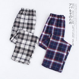 be5a630a7ab Plus Size Cotton Plaid Men Sleep Bottoms Comfort Pajama Simple Loose Sleepwear  Pants Pijamas Male Sheer Pyjama Trouser Homewear