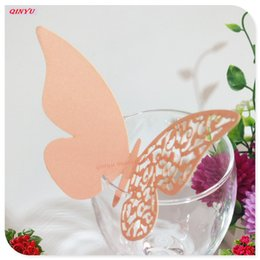 Wholesale Wine Pearls Wholesale - 50pc Pearl Paper Card Butterfly cup card Wine Glass Cup Laser Cut Birthday Wedding Invitations Wedding Supplies 5Z