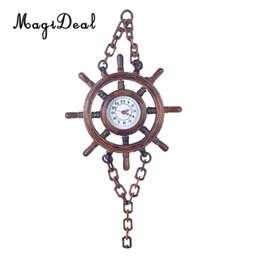 Ruote sterzanti a catena online-Decorazione a parete appesa a catena a forma di orologio da parete con volante a barca in legno a batteria in legno