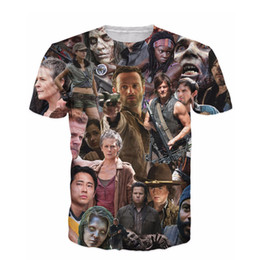 Wholesale Zombies T Shirt - New Arrive The Walking Dead Paparazzi T -Shirt Rick Grimes Carl Daryl Michonne Zombies 3d Summer Style Tee T Shirt Women Men