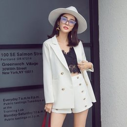 ladies white pant suit women Coupons - ELegant Office Lady Short Suit Set Women 2 Piece Set white Color Jacket Blazer + High Waist Mini Pant Suits Female Tracksuit