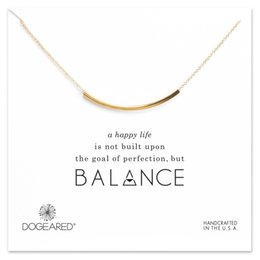 Wholesale Card Tube - Dogeared balance curved tube necklace balance bar choker necklace women pendant necklaces with gift card gold and silver colors