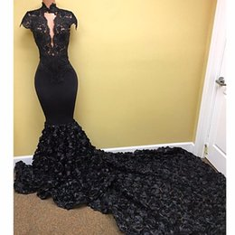 Wholesale Yellow Rose 3d - Aso Ebi Black 3D Rose Flower Mermaid Prom Dresses 2018 Lace High Collar Long Prom Gowns Short Sleeves Nigeria Sexy Party Dress