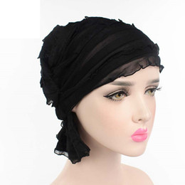 Wholesale Cow Hats - Women Chiffon Ruffle Cancer Chemo Hat Beanie Scarf Turban Head Wrap Cap Ladies Chiffon Cow Louver Folding Stack Cap Polyester
