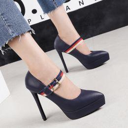 88ce2fdd1123 13cm chic buckle platform pumps office lady work shoes women designer high  heels red blue black beige size 34 to 39 discount chic work dresses