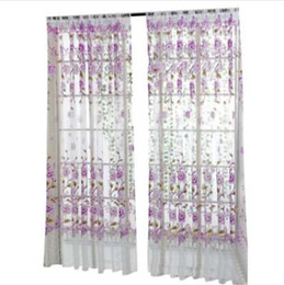Желтая ткань занавеса онлайн-Window Curtain Peony Sheer Curtain Tulle Window Treatment Voile Drape Valance 1 Panel Fabric Window Curtain Dropshipping 18may17