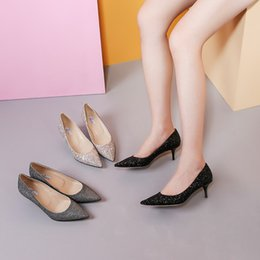 Wholesale Satin Ballet Wedding Shoes - 2018 popular fashion women sequin comfortable pointed toe shoes bridal wedding shoes for wedding prom evening