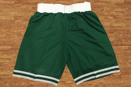Wholesale Cheap Basketball Wear - 2017-2018 New Season Boston Men Shorts Breathable Sweatpants Basketball Shorts Green Sportswear Wear Embroidered Logos Cheap Stitched Sports