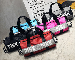 Wholesale Folding Clothes For Travel - Sport Bags For Women Luxury Handbags Pink Letter Large Capacity Travel Duffle Striped Waterproof Beach Bag on Shoulder for Outdoor Business