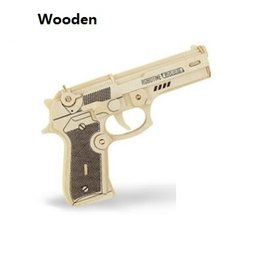 Wholesale Wooden Toy Pistol - 3D DIY Wooden Toys Gun Revolver Puzzle New Wood Craft Construction Kit Pistol Baby Kids Gifts High Quality Toys & Hobbies