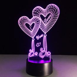 2019 décorations de porte du nouvel an chinois décorations de mariage vous aime 3D LED Lampe Night Light Desk Lampe de table Lampe 3D Illusion Visualisation USB Powered veilleuse