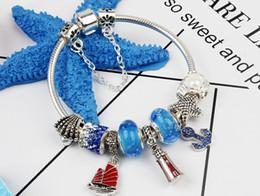 badcd4a5 2018 verano DIY delicado azul náutico ancla colgante pulsera para Pandora  estilo europeo encanto joyería del grano ancla pandora en venta