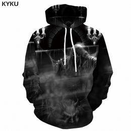 мужская толстовка с капюшоном из трех черепов Скидка KYKU Grim Reaper Hoodie Men Hip Hop Skull 3d Hoodies Black Cobweb Print Sweatshirt Cosplay Anime Mens Clothing Pullover Hooded