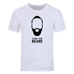 Wholesale Green Beard - James Harden printed T Shirt Men Fashion Fear The Beard T-shirt Summer Short Sleeve Cotton Men T Shirt casual Tops Tees DIY-0558D