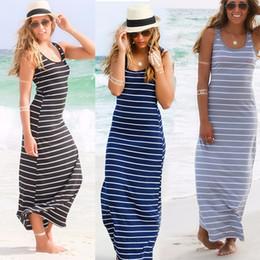 Mujeres sexy verano boho largo maxi dress beach sin mangas tanque vestidos más el tamaño de algodón a rayas femme vestidos s M L XL XXL Y1890601 desde fabricantes
