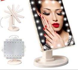 Wholesale 16 Led Screen - Make Up LED Mirror 360 Degree Rotation Touch Screen Cosmetic Folding Portable Compact Pocket With 22 16 LED Light Makeup Compact Mirros