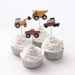 Wholesale Birthday Party Supplies Themes - Wholesale-24pcs lot City Construction Tool Cart Theme Cartoon Party Supplies Cupcake Topper Kids Boy Birthday Party Decorations