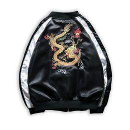 2019 giacca da bomba da hip hop Giacca da uomo di ricamo bomber drago giacca  streetwear 61ace03f4d36