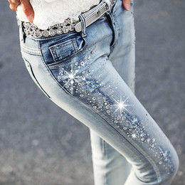 strass das pernas femininas Desconto Lantejoula Jeans com Strass Mulheres Lady Jeans Cintura Fina Elástica Diamante Leggings Estilo Coreano Namorado Femme Calças Compridas