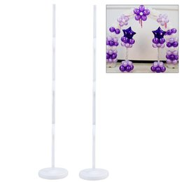 wedding decorations stands UK - 2pcs Balloon Column Stand Kits Arch Stand with Frame Base and Pole for Wedding Birthday Festival Party Decoration