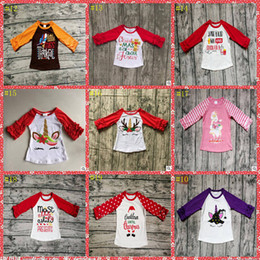 da5162996 Kids Christmas Clothing Baby Unicorn T-shirts Girls Ruffled Raglan Shirt  Elephant Floral Printed Tees Designer Casual Shirts YL583-1