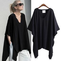 Wholesale Bat Wings Women Tops - 2018 Europe Summer Women's Loose T-shirt V Neck Bat-wing Sleeve Irregular Plus Size Tops Tee Lady's Casual Cotton Tshirts C3354