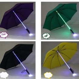 Wholesale led umbrella rain - Led Umbrella Light Rain Originality Flash Safety Night Protection Luminescent Manual Colourful Acrylic Plastic Rod High Quality 31xm V