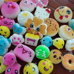 Wholesale Big Pendent - 12pcs set Squishy Toys Slow Rising Soft Pu Kawii Cute Bread Donut Cake Squeeze Phone Straps Pendent Stress Relieve Decompression Toys New