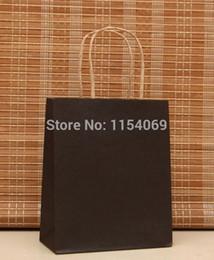 Wholesale Boutiques Paper Bags - Wholesale- Free Shipping 50pcs lot Black Kraft Paper Bag 18x15x8cm Jewelry Boutique Shopping Packaging Paper Gift Bags With Handle